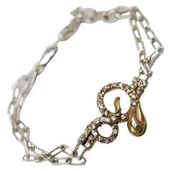 White Diamond Black Diamond Ruby Snake Bracelet Bronze Silver Chain J Dauphin