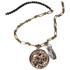 White Diamond Black Pearl Chunky Medal Chain Necklace Coin Virgin Mary J Dauphin