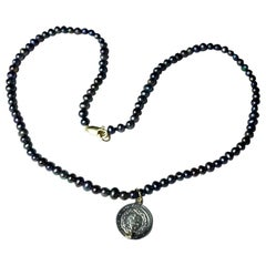 White Diamond Black Pearl Necklace Heart Medal Pendant Sterling Silver J Dauphin
