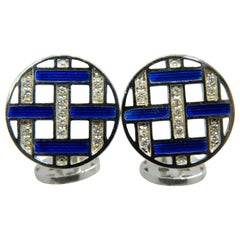 Berca White Diamond Blue Enameled Disk Shaped White Gold Setting Cufflinks