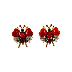 White Diamond Blue Sapphire Ruby Emerald Red Coral Yellow Gold Stud Earrings