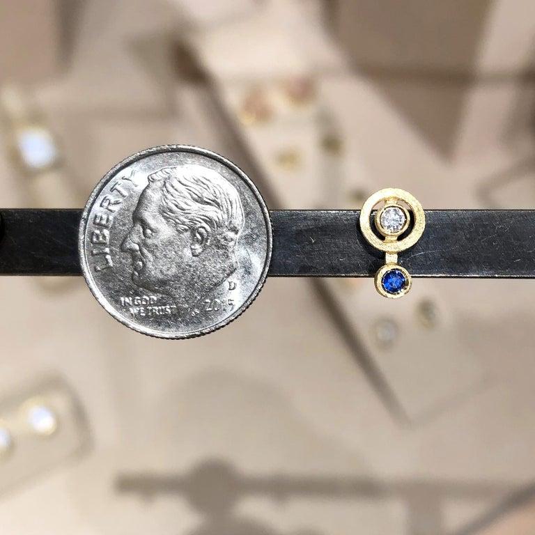 Modern White Diamond Blue Sapphire Satin Gold Handmade Stud Earrings For Sale