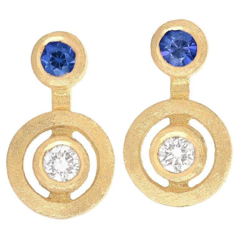 White Diamond Blue Sapphire Satin Gold Handmade Stud Earrings For Sale