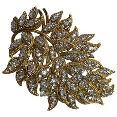 White Diamond Brooch in 18 Karat Yellow Gold