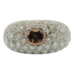 White Diamond Brown Diamond Ring White Gold