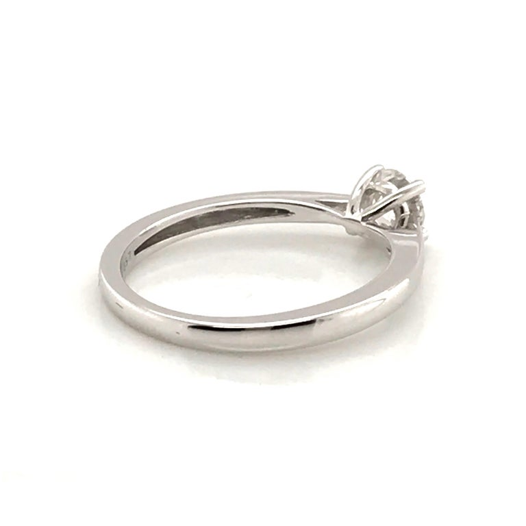 White Diamond Certified Color F on White Gold 18 Karat Solitaire Ring For Sale 7