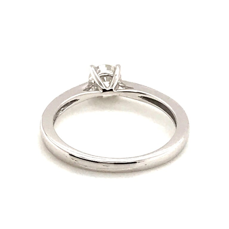 White Diamond Certified Color F on White Gold 18 Karat Solitaire Ring For Sale 8