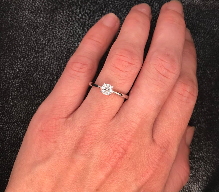 White Diamond Certified Color F on White Gold 18 Karat Solitaire Ring For Sale 12