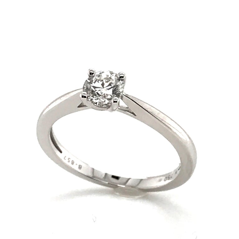 White Diamond Certified Color F on White Gold 18 k Solitaire Ring  Certified White Diamond Shape Brillant Weight 0.500  Color F Purity SI Lion Claw setting White Gold 18 k Weight 2.78 grams  French Size 54 US Size 6.45