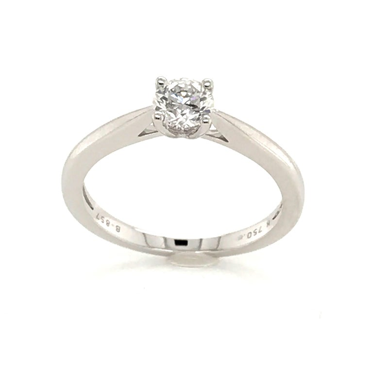 White Diamond Certified Color F on White Gold 18 Karat Solitaire Ring In New Condition For Sale In Vannes, FR