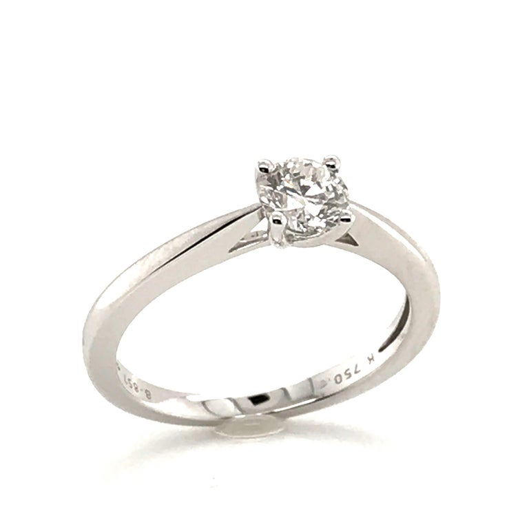 White Diamond Certified Color F on White Gold 18 Karat Solitaire Ring For Sale 2
