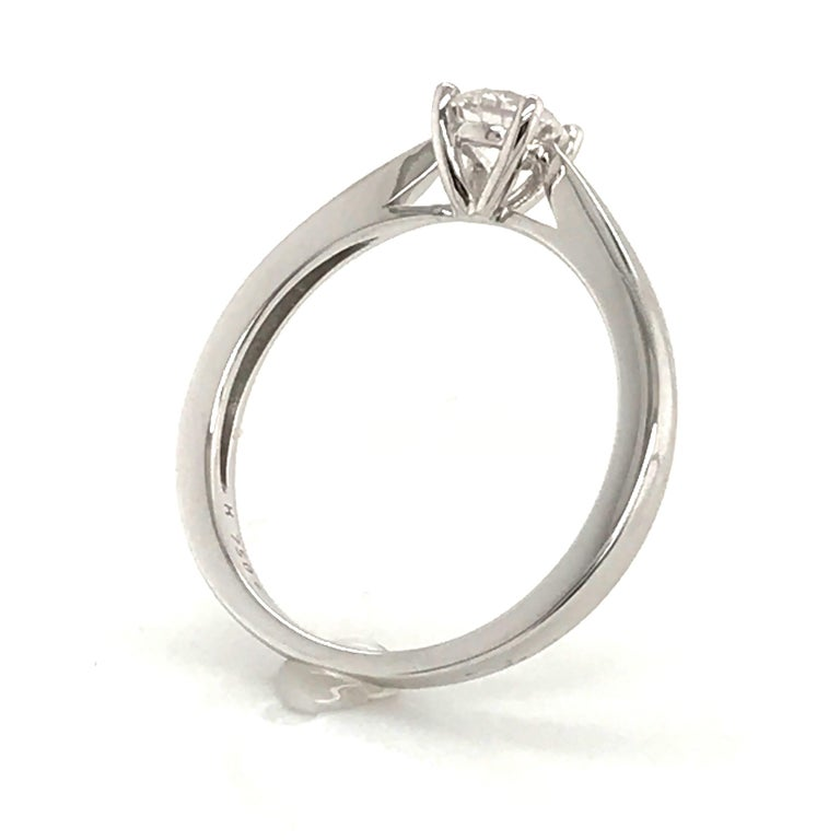 White Diamond Certified Color F on White Gold 18 Karat Solitaire Ring For Sale 3