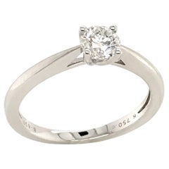 White Diamond Certified Color F on White Gold 18 Karat Solitaire Ring