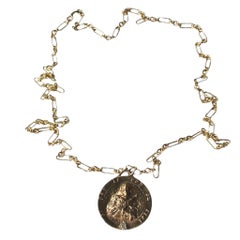 White Diamond Chain Necklace Medal Coin Pendant Joan of Arc J Dauphin