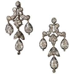 White Diamond Chandelier Drop Earrings Pendant Brooch