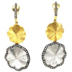 White Diamond Chandelier Earrings in 18 Karat White and Yellow Gold