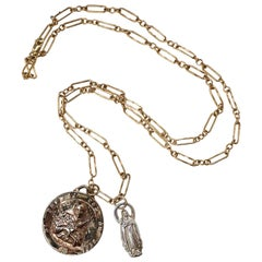 White Diamond Chunky Chain Necklace Medal Coin Pendant Joan of Arc J Dauphin