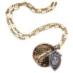 White Diamond Chunky Chain Necklace Medal Coin Pendant Virgin Mary J Dauphin