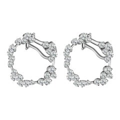 White Diamond Cluster Hoop Earrings with Round Diamonds