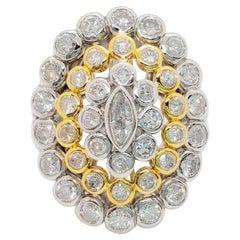 White Diamond Cluster Ring in Platinum and 18 Karat Yellow Gold