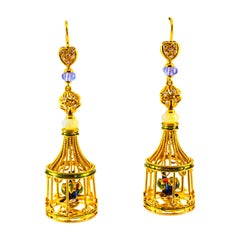 White Diamond Coral Pearl Tanzanite Opal Enamel Yellow Gold Birdcage Earrings