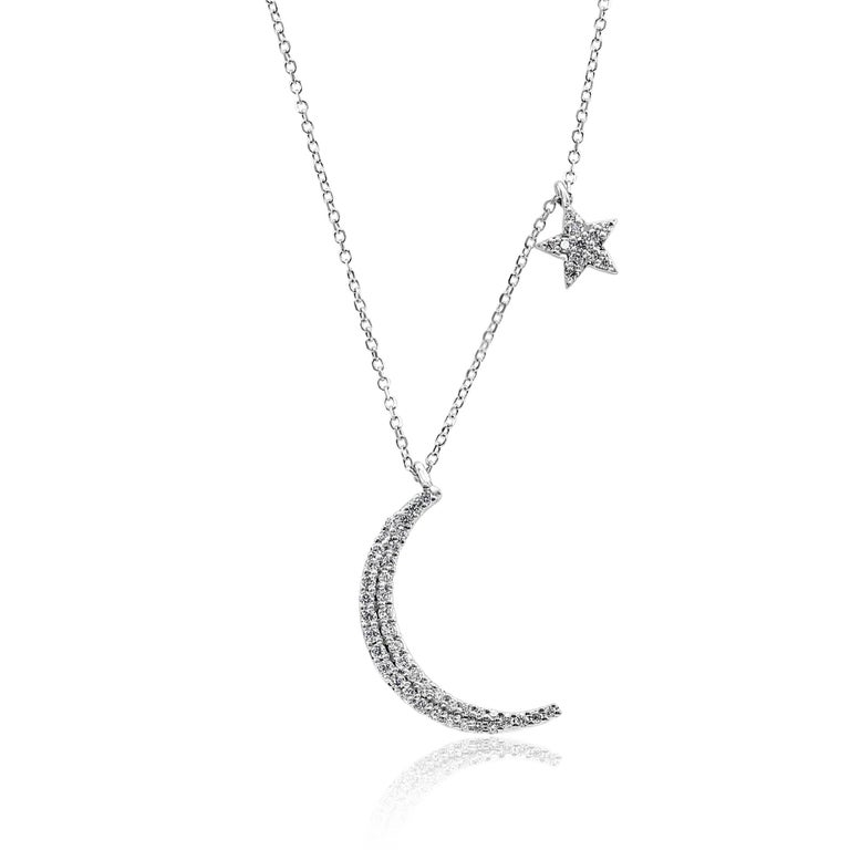 Stunning Crescent Moon and Star style 14K White Gold Pendant Necklace with 52 White G-H Color SI Clarity Round Diamonds 0.33 Carat. Beautifully styled perfect for all days .  Total Diamond Weight.   Style available in all Gold Colors and different