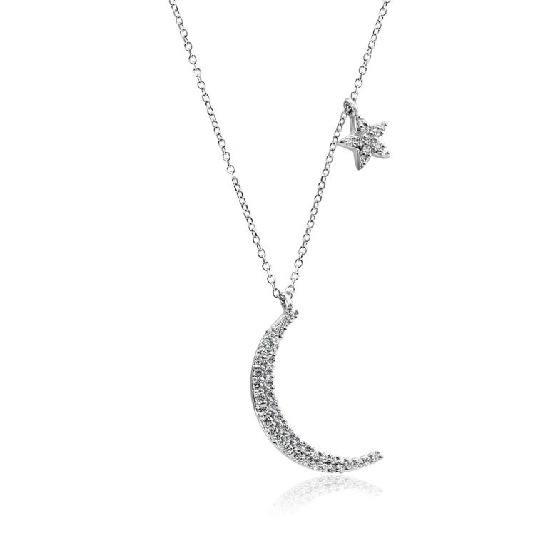 Modern White Diamond Crescent Moon and Star White Gold Fashion Drop Pendant Necklace For Sale