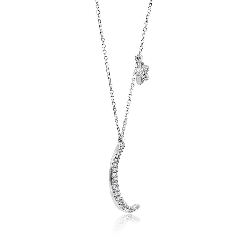 Round Cut White Diamond Crescent Moon and Star White Gold Fashion Drop Pendant Necklace For Sale