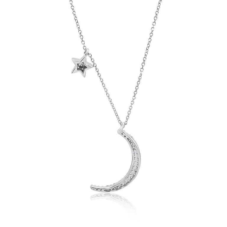 White Diamond Crescent Moon and Star White Gold Fashion Drop Pendant Necklace In New Condition For Sale In NEW YORK, NY