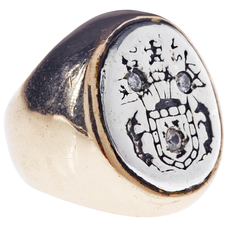 White Diamond Crest Signet Ring Sterling Silver Bronze Unisex J Dauphin
