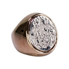 White Diamond Crest Signet Ring Sterling Silver Bronze Unisex J Dauphin