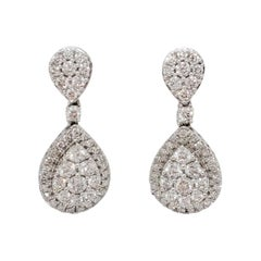 White Diamond Dangle Earrings in 14k White Gold
