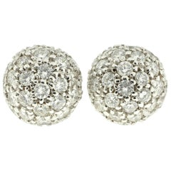 White Diamond Dome Earrings in 18 Karat Gold