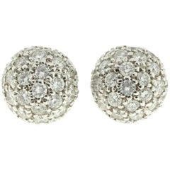 White Diamond Dome Earrings in 18-Karat White Gold