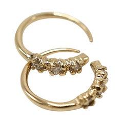 White Diamond Earring 14 Karat Gold Hook J Dauphin