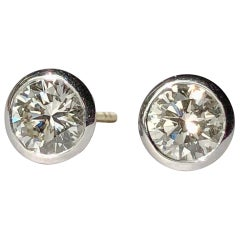White Diamond Earrings Studs Single Stone Round Brilliant Cut Solitaire 18k Gold