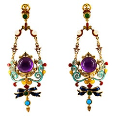 White Diamond Emerald Amethyst Turquoise Pearl Yellow Gold Clip-On Drop Earrings