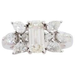 White Diamond Emerald Cut Ring in Platinum