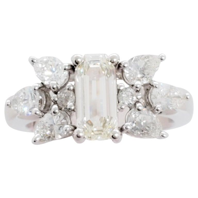 White Diamond Emerald Cut Ring in Platinum For Sale