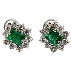 White Diamond Emerald Gold Stud Earrings