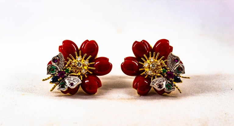 White Diamond Emerald Ruby Blue Sapphire Red Coral Yellow Gold Flowers Earrings For Sale 4