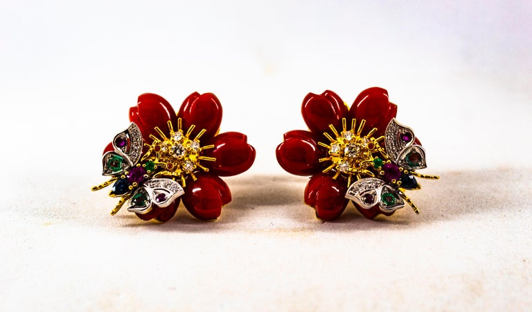 White Diamond Emerald Ruby Blue Sapphire Red Coral Yellow Gold Flowers Earrings For Sale 5