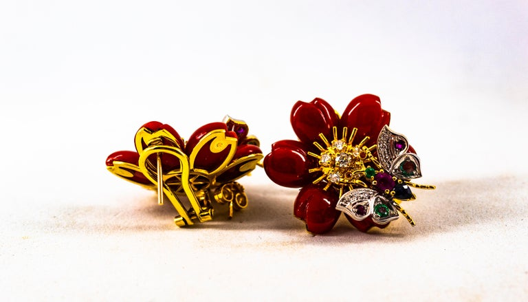 White Diamond Emerald Ruby Blue Sapphire Red Coral Yellow Gold Flowers Earrings For Sale 6