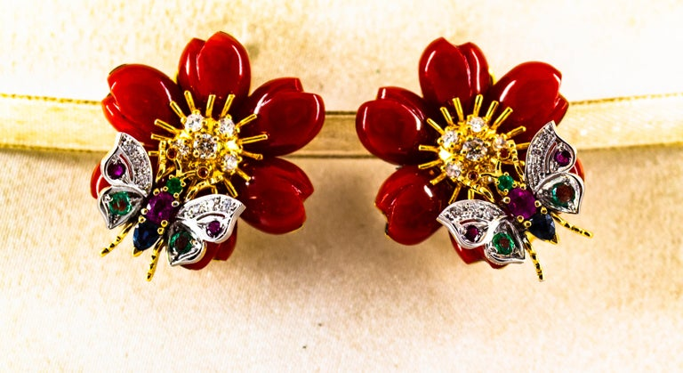 White Diamond Emerald Ruby Blue Sapphire Red Coral Yellow Gold Flowers Earrings For Sale 7