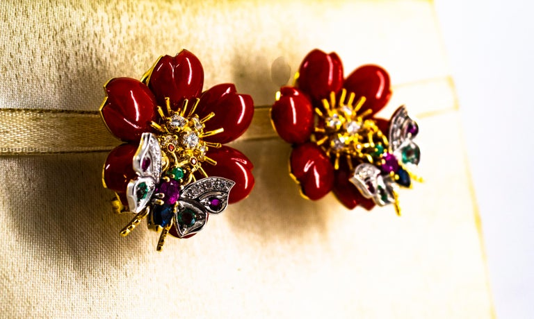 White Diamond Emerald Ruby Blue Sapphire Red Coral Yellow Gold Flowers Earrings For Sale 8