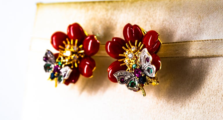 White Diamond Emerald Ruby Blue Sapphire Red Coral Yellow Gold Flowers Earrings For Sale 9