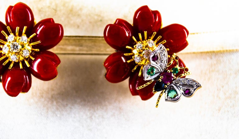 Art Nouveau White Diamond Emerald Ruby Blue Sapphire Red Coral Yellow Gold Flowers Earrings For Sale