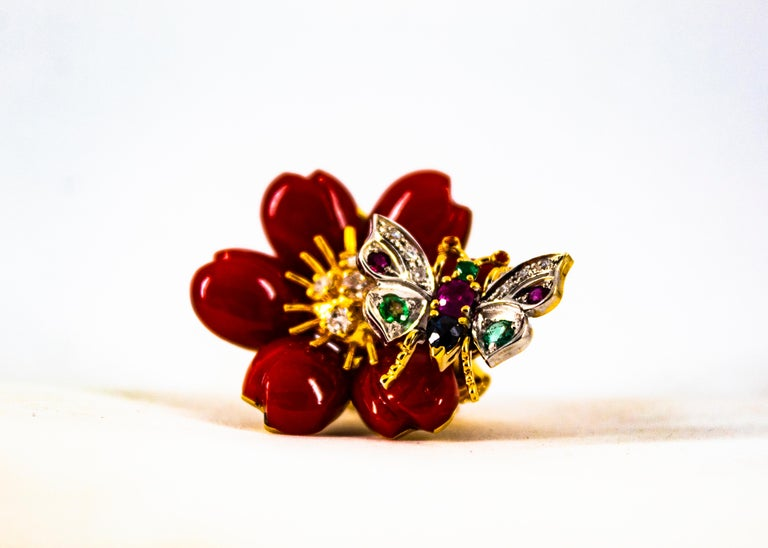 Brilliant Cut White Diamond Emerald Ruby Blue Sapphire Red Coral Yellow Gold Flowers Earrings For Sale