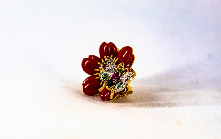 Women's or Men's White Diamond Emerald Ruby Blue Sapphire Red Coral Yellow Gold Flowers Earrings For Sale