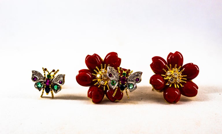 White Diamond Emerald Ruby Blue Sapphire Red Coral Yellow Gold Flowers Earrings For Sale 3